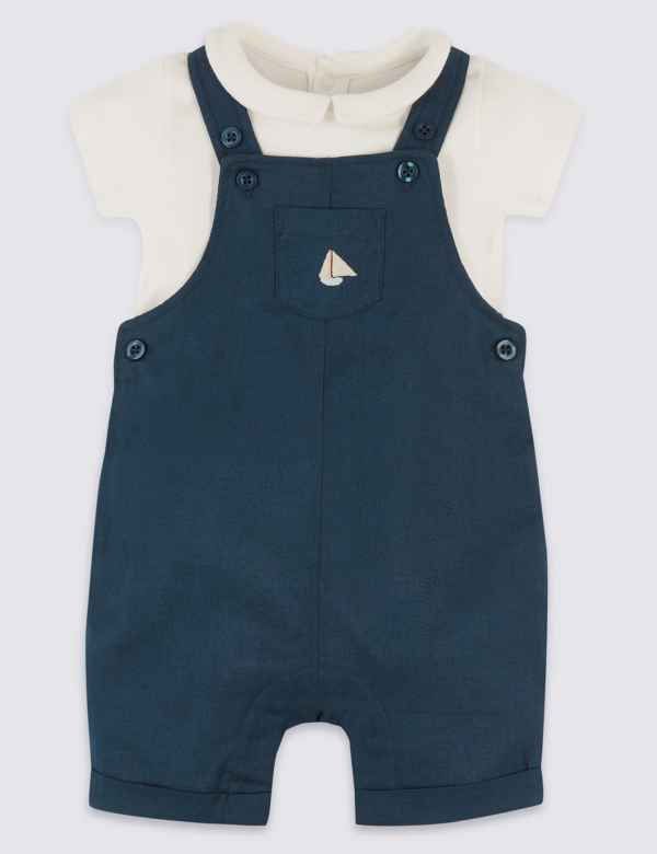 d8cd774029d2 2 Piece Linen Dungarees with Bodysuit Outfit