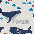 Organic Cotton 1.5 Tog Whale Sleeping Bag , BLUE MIX, swatch