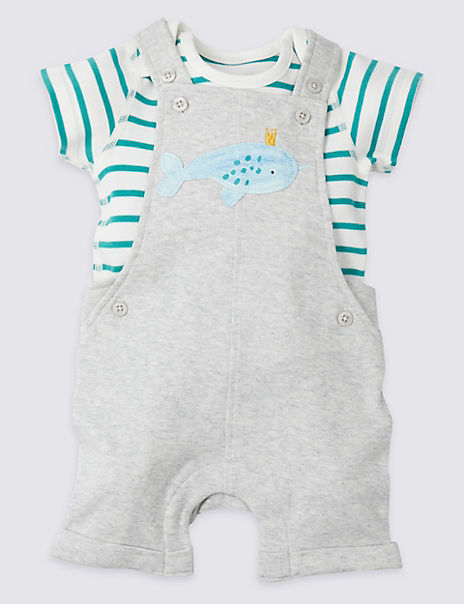 2 Piece Jersey Dungarees & Bodysuit Outfit
