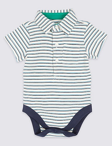 Pure Cotton Striped Polo Bodysuit