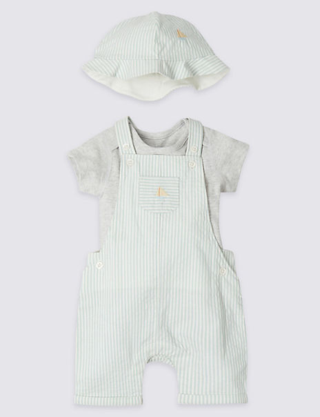 3 Piece Dungaree & Bodysuit with Hat