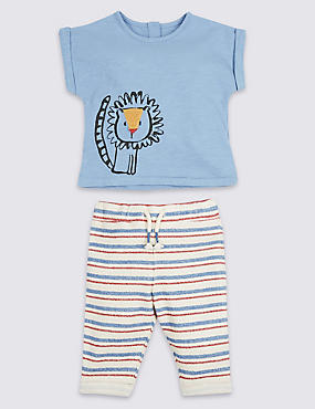 2 Piece Pure Cotton Textured Top & Joggers Outfit