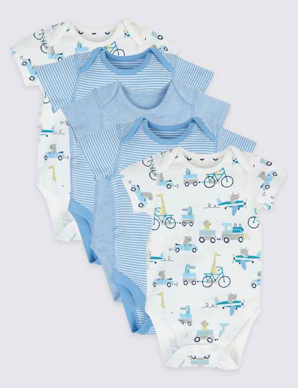 814f0ed63d92d 5 Pack Organic Cotton Transport Bodysuits. New