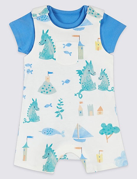 2 Piece Print Dungarees with Bodysuit