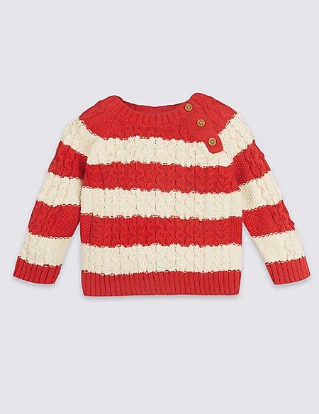 Pure Cotton Striped Cable Knit Jumper