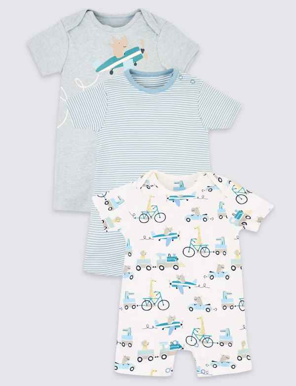 081019ab71e 3 Pack Organic Cotton Transport Rompers