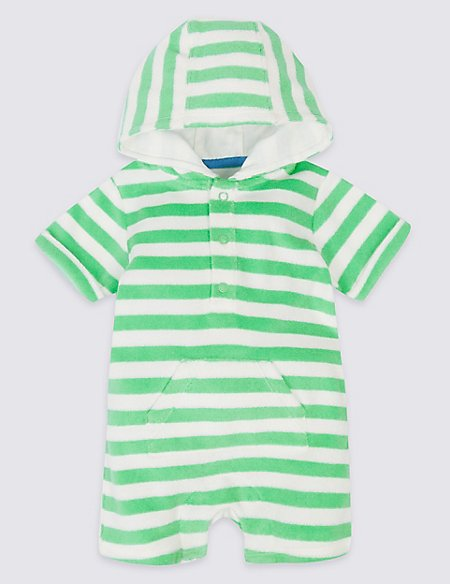 Striped Cotton Rich Hooded Romper