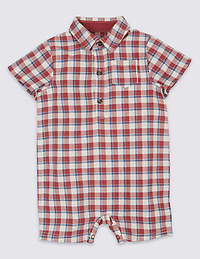 Checked Pure Cotton Romper
