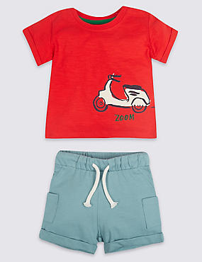2 Piece Scooter Jersey Top & Shorts Outfit