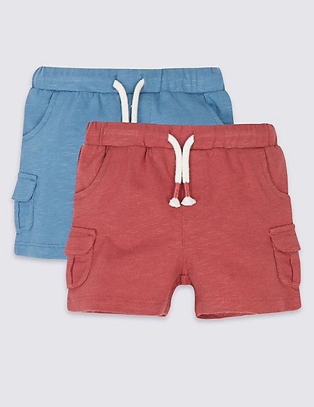 2 Pack Pure Cotton Jersey Shorts
