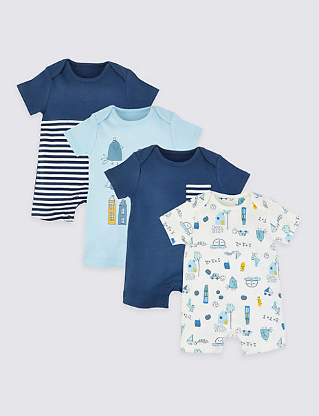 4 Pack Pure Cotton Rompers