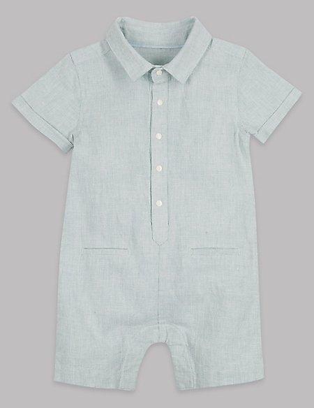 Textured Cotton Rich Romper