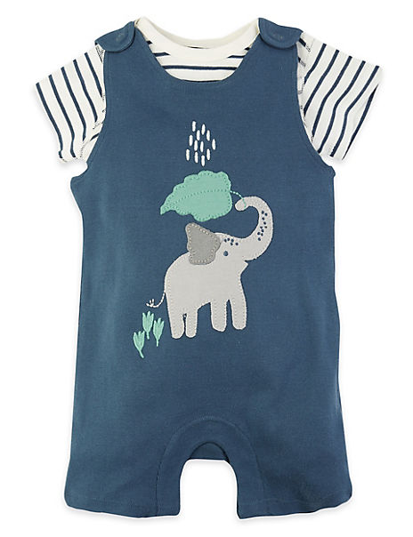 2 Piece Cotton Elephant Dungarees Outfit (0 - 12 Mths)