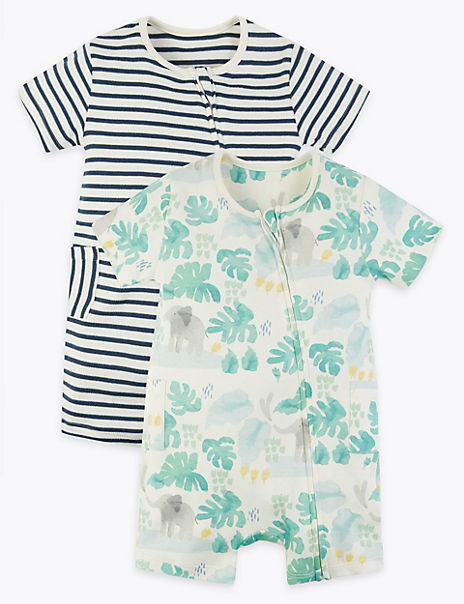 2 Pack Cotton Elephant Rompers (7lbs-12 Mths)
