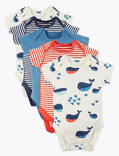 5 Pack Organic Cotton Nautical Bodysuits (0-3 Yrs)