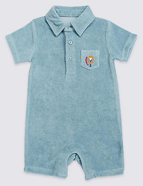Cotton Rich Towelling Polo Romper
