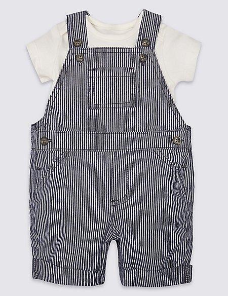 2 Piece Pure Cotton Bib Shorts & Bodysuit