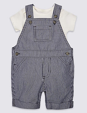 2 Piece Pure Cotton Bib Shorts & Bodysuit