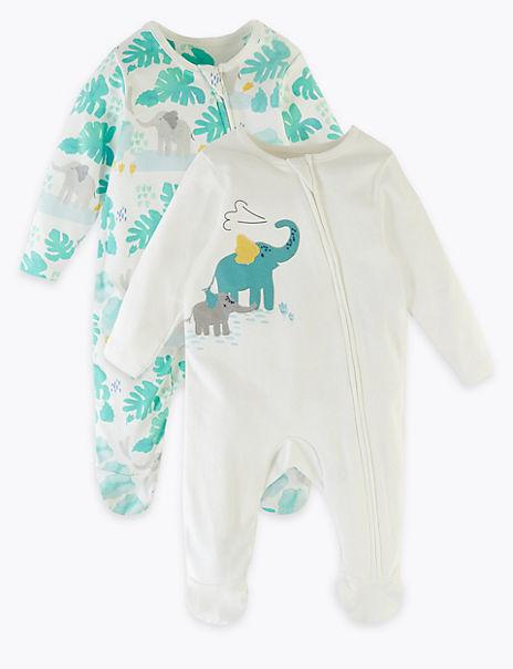 2 Pack Pure Cotton Elephant Sleepsuits (7lbs-12 Mths)