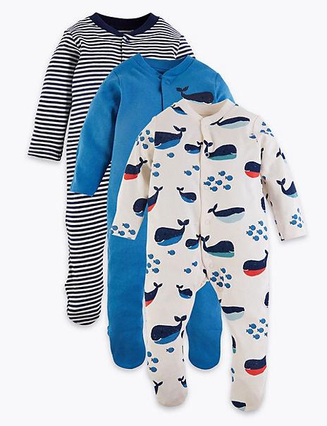 3 Pack Organic Cotton Nautical Sleepsuits (6½lbs-3 Yrs)