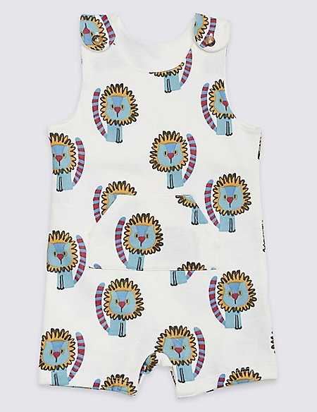 Pure Cotton All Over Lion Print Dungarees