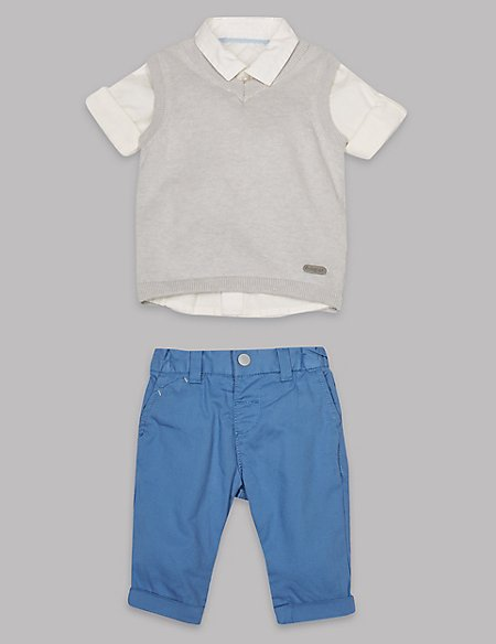 3 Piece Pure Cotton Tank Shirt & Trousers Outfit