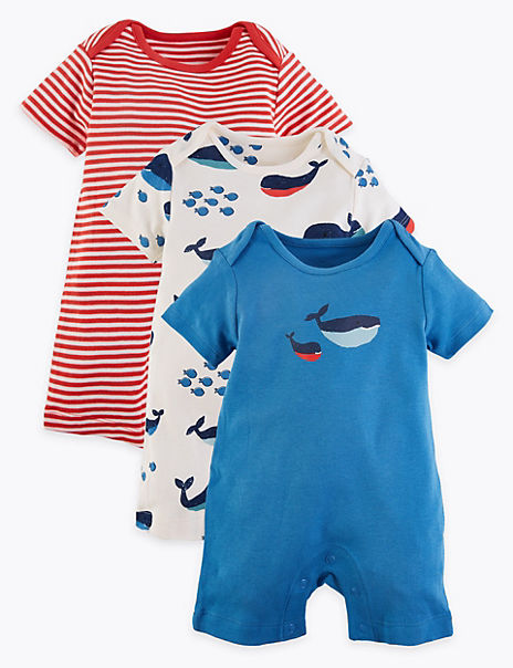 3 Pack Pure Cotton Nautical Rompers (6½lbs- 3 Yrs)