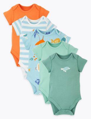 5 Pack Organic Cotton Fish Bodysuits (6½lbs-3 Yrs)