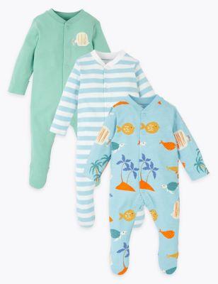 3 Pack Organic Cotton Fish Sleepsuits (6½lbs-3 Yrs)