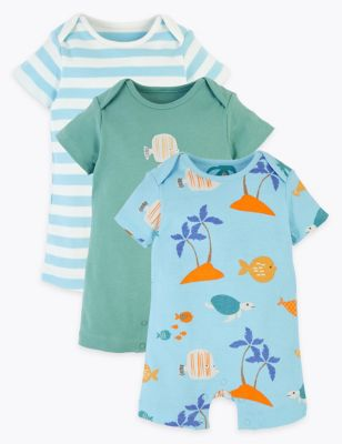 3 Pack Organic Cotton Sealife Rompers (6½lbs-3 Yrs)