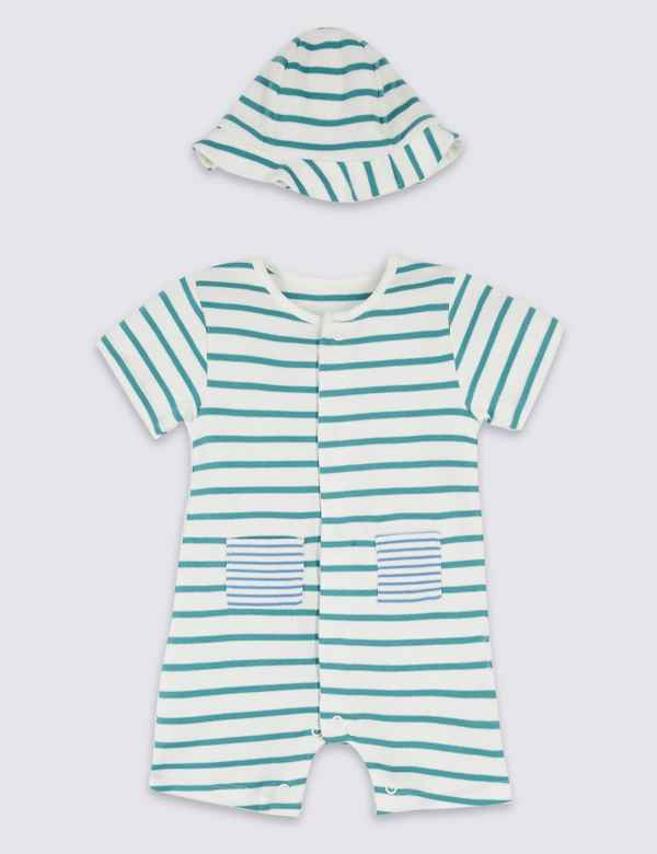 b7d0d38f37e 2 Piece Striped Romper with Hat. New