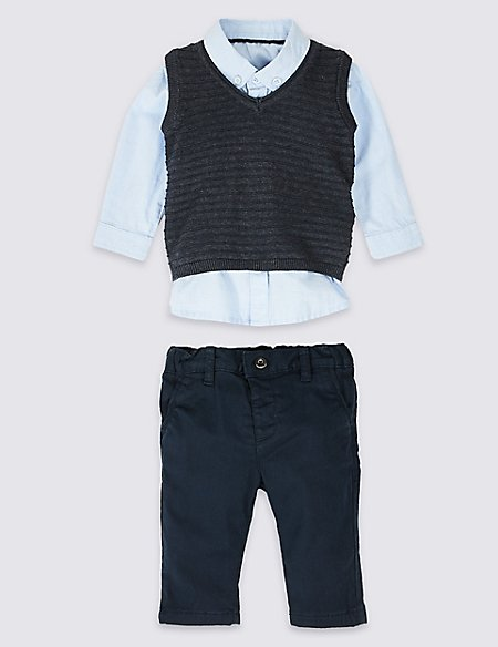 3 Piece Shirt & Sweatshirt with Trousers