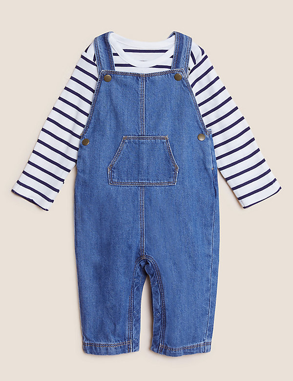 2pc Cotton Denim Dungarees Outfit (0-3 Yrs)