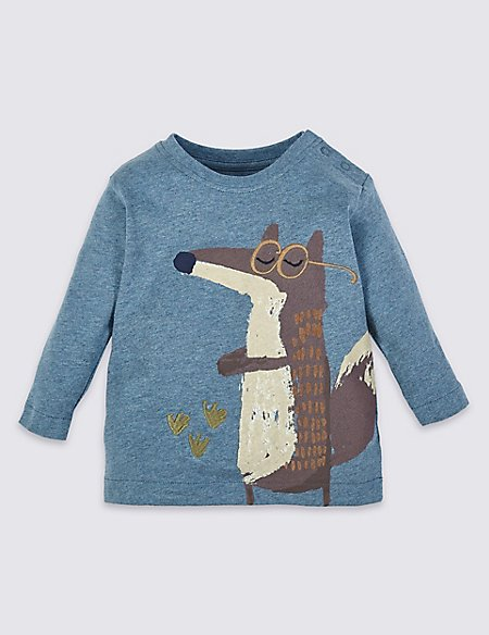 Pure Cotton Fox Graphic T-Shirt