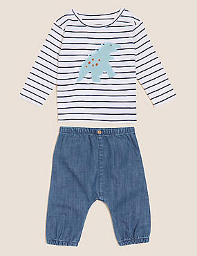2pc Pure Cotton Striped Dinosaur Outfit (0-3 Yrs)