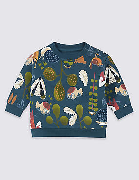 Cotton Garden Print Sweatshirt with Stretch