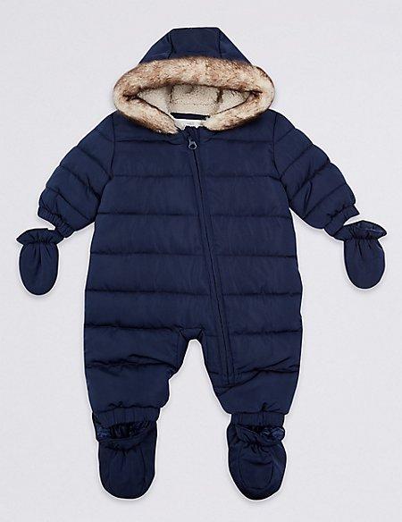 Faux Fur Trim Puffer Snowsuit