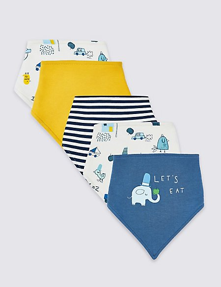 5 Pack Pure Cotton Dribble Bibs