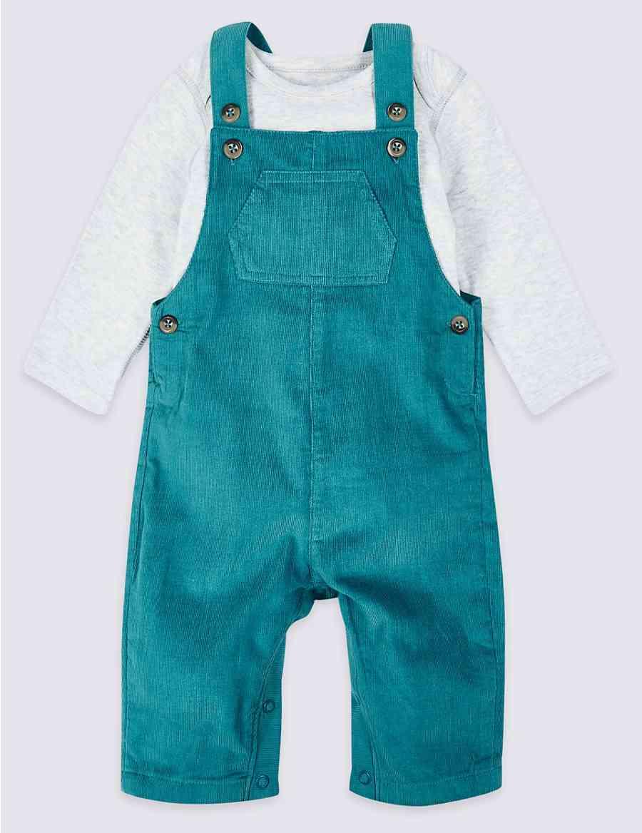 214327402 2 Piece Pure Cotton Cord Dungarees   Bodysuit
