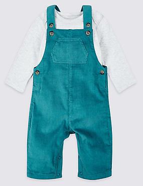 2 Piece Pure Cotton Dungarees & Bodysuit