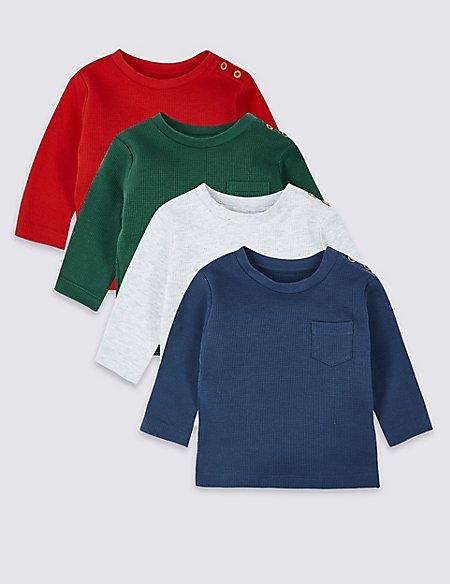 4 Pack Pure Cotton Waffle T-Shirts