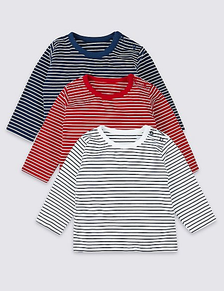 3 Pack Organic Cotton Striped T-Shirts