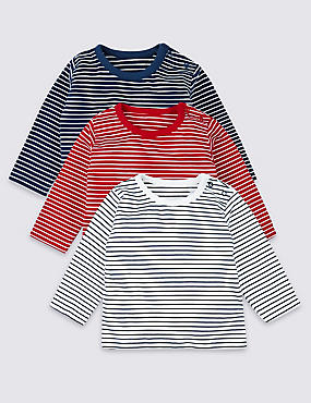 3 Pack Organic Cotton Striped T-Shirts