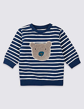 Pure Cotton Stripe Bear Sweatshirt