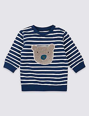 Organic Cotton Stripe Bear Sweatshirt