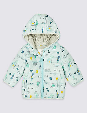 All Over Car & Bird Print Coat