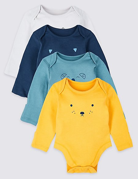 4 Pack Pure Cotton Graphic Bodysuits