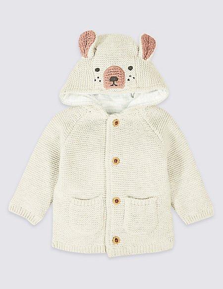 Pure Cotton Hooded Bear Cardigan