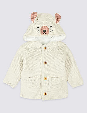 Pure Cotton Hooded Bear Cardigan