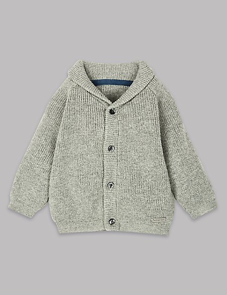 Cotton Rich Shawl Collar Cardigan